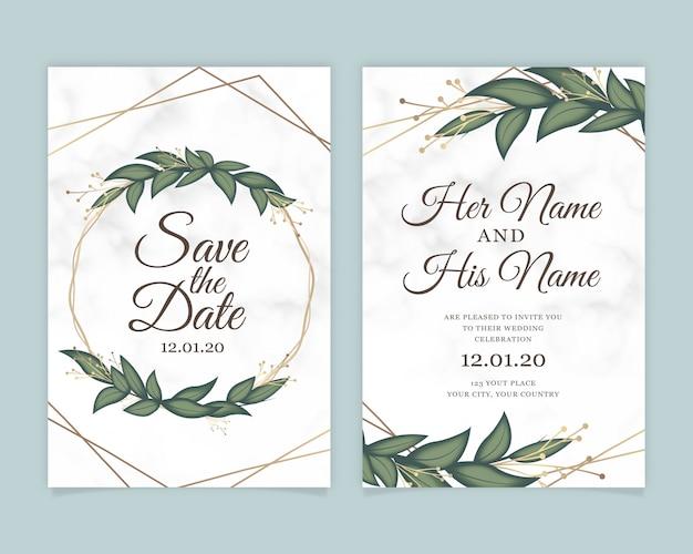 Tarjeta de invitación de boda con fondo de mármol.