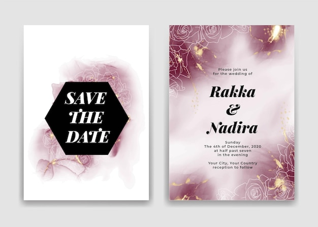 Tarjeta de invitación de boda con formas de ondas doradas burdeos y rosa