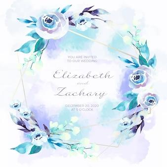 Tarjeta de invitación de boda con framae floral