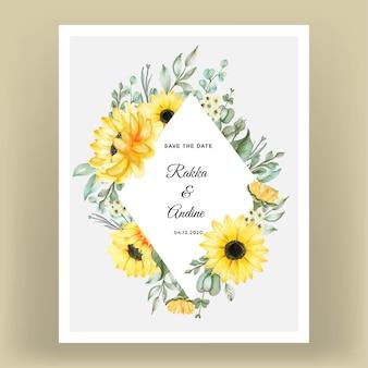 Tarjeta de invitación de boda con girasoles