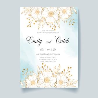 Tarjeta de invitación de boda, guardar la fecha con fondo de acuarela, flores doradas, hojas y ramas.