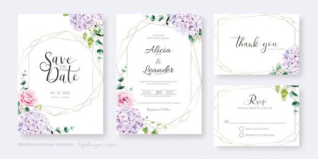 Tarjeta de invitación de boda, guardar la fecha, gracias, plantilla rsvp. flor de hortensia, rosa rosa con vegetación.