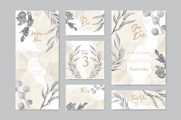 Tarjeta de invitación de boda guardar la fecha rsvp diseño de menú de mesa con corona de hojas y marco
