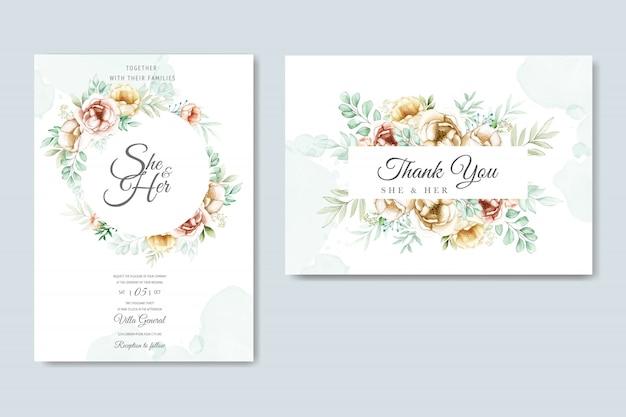 Tarjeta de invitación de boda con hermosa acuarela floral y hojas
