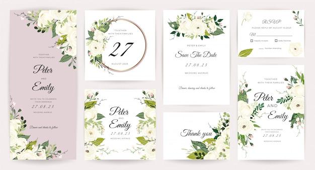 Tarjeta de invitación de boda con hermosa colección de rosas.