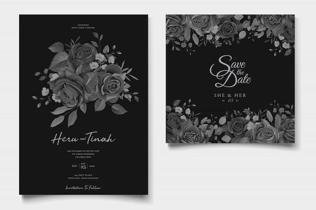 Tarjeta de invitación de boda hermosa con corona floral negra