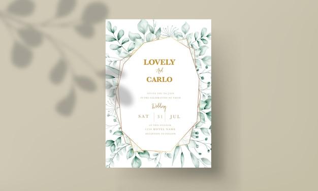 Tarjeta de invitación de boda con hermosa decoración de hojas. Vector Premium