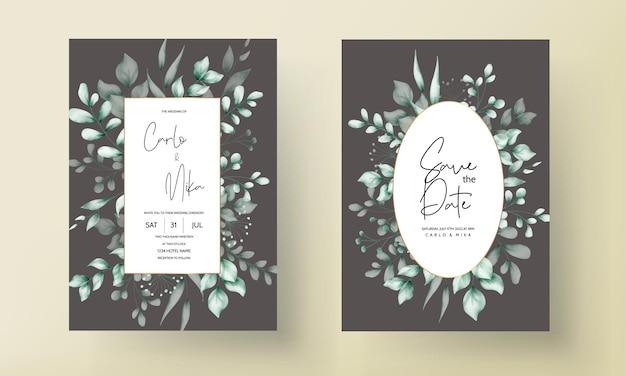 Tarjeta de invitación de boda con hermosa decoración de hojas.