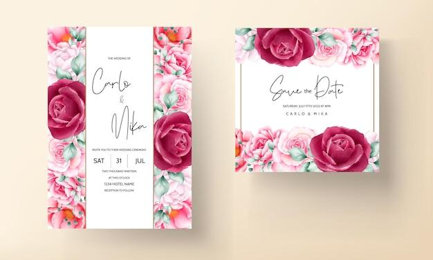 Tarjeta de invitación de boda hermosa flor acuarela dibujada a mano