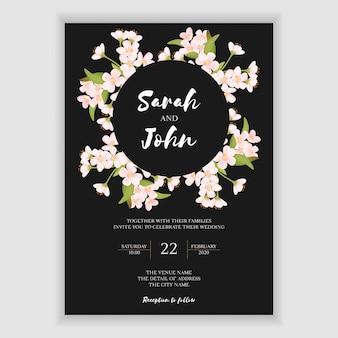 Tarjeta de invitación de boda hermosa flor de cerezo
