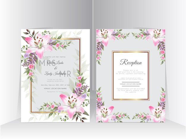 Tarjeta de invitación de boda con hermosa flor de lirio dibujada a mano