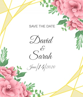 Tarjeta de invitación de boda hermosa con flor roja