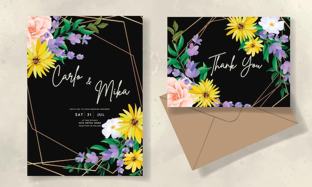 Tarjeta de invitación de boda hermosa flor silvestre