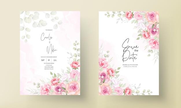 Tarjeta de invitación de boda hermosa flor suave