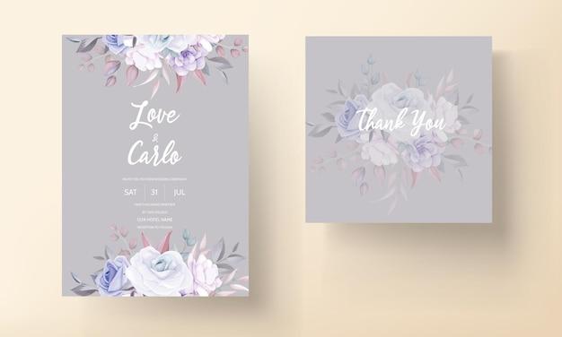 Tarjeta de invitación de boda hermosa con flores de color púrpura suave