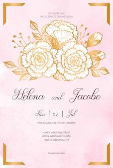 Tarjeta de invitación de boda hermosa con flores doradas, hojas, fondo de acuarela y ramas. invitación de boda feliz ¡ideal para ceremonia de boda y matrimonio feliz!