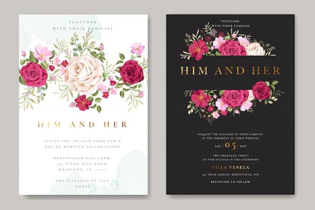 Tarjeta de invitación de boda hermosa con flores y hojas guirnalda