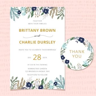 Tarjeta de invitación de boda con hermosa frontera floral