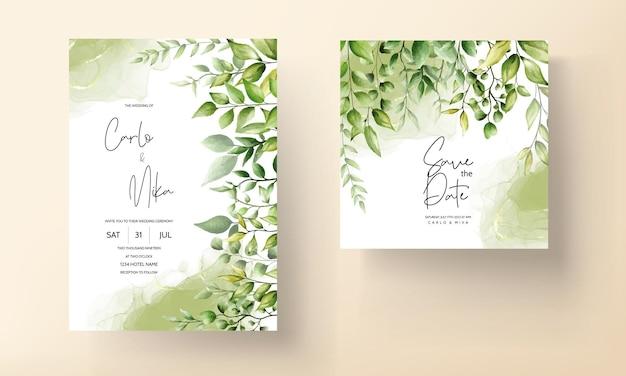 Tarjeta de invitación de boda hermosa hoja de acuarela con tinta de alcohol