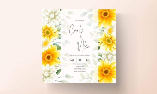 Tarjeta de invitación de boda con hermosa plantilla de flor de margarita en flor