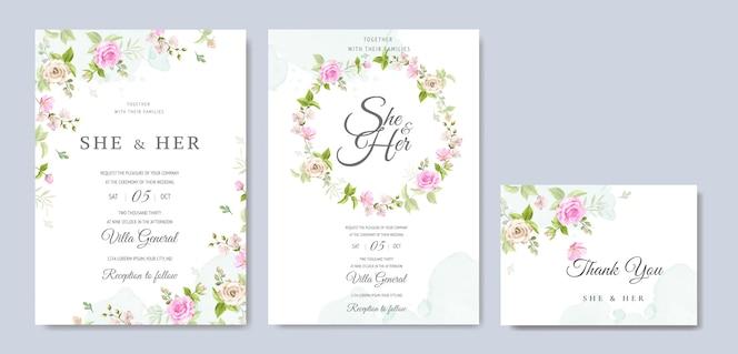 Tarjeta de invitación de boda con hermosa plantilla floral y hojas