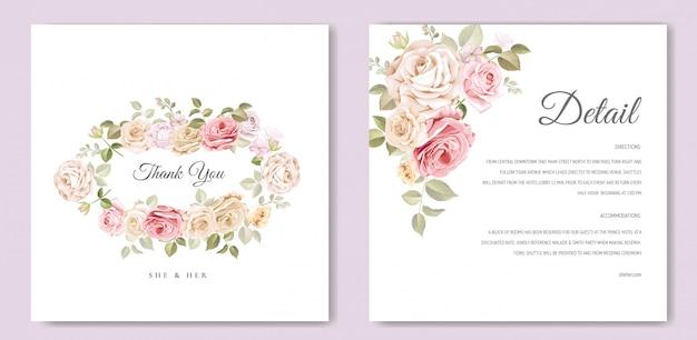 Tarjeta de invitación de boda con hermosa plantilla floral