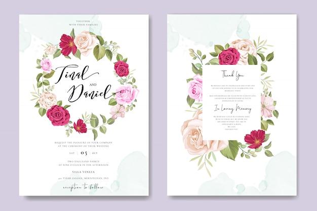 Tarjeta de invitación de boda hermosa con plantilla de marco floral