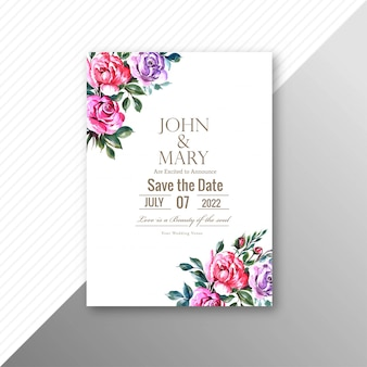 Tarjeta de invitación de boda hermosa con plantilla de marco de flores