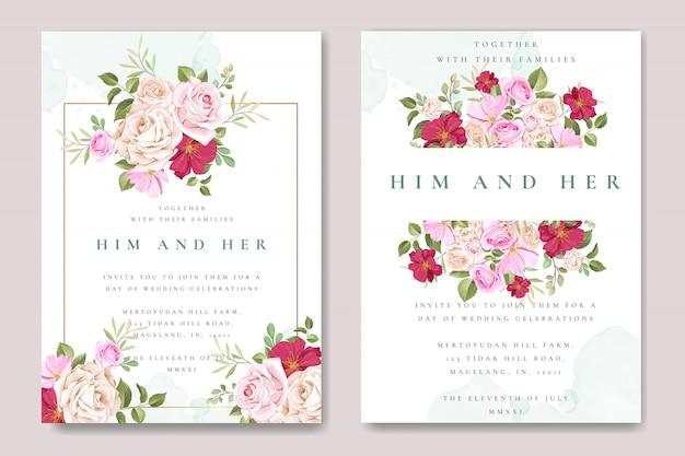 Tarjeta de invitación de boda hermosa con plantilla de rosas coloridas