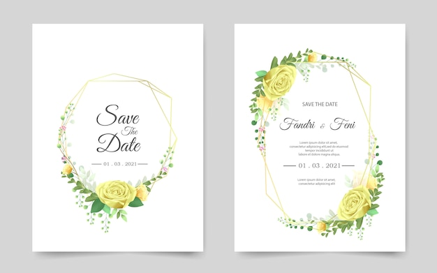 Tarjeta de invitación de boda hermosa con rosa amarilla