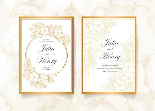 Tarjeta de invitación de boda hermosa con suaves flores doradas
