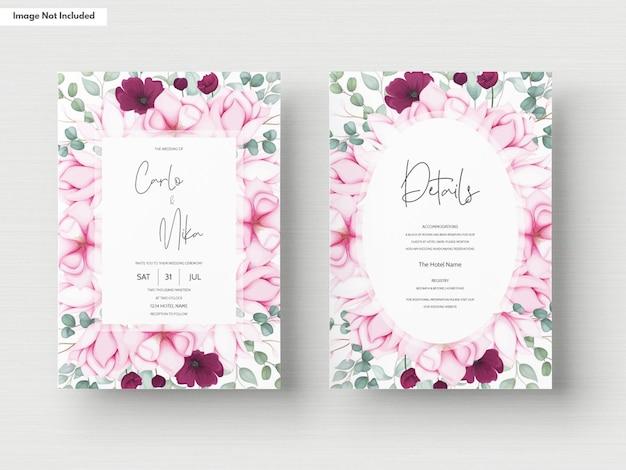 Tarjeta de invitación de boda con hermosas flores florecientes