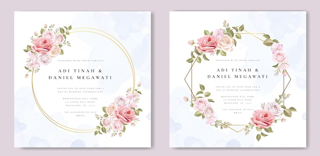 Tarjeta de invitación de boda con hermosas flores y hojas