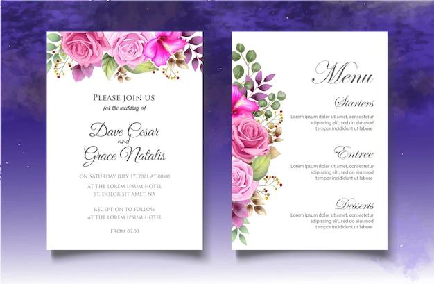 Tarjeta de invitación de boda con hermosas flores y hojas.