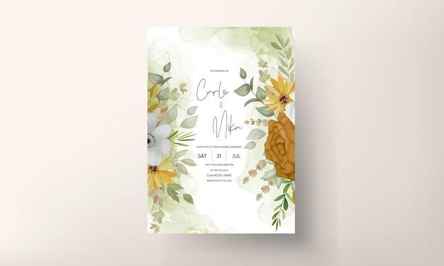 Tarjeta de invitación de boda con hermosas flores de otoño