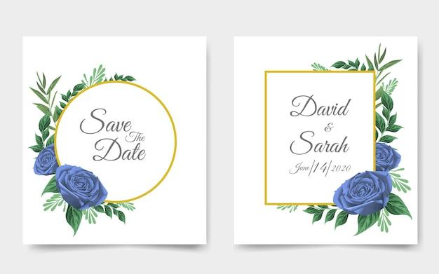 Tarjeta de invitación de boda con hermosas flores
