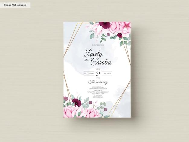 Tarjeta de invitación de boda con hermosas flores.