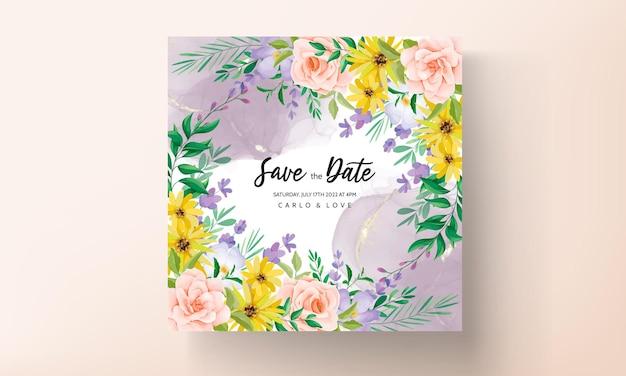 Tarjeta de invitación de boda con hermosas rosas y flores silvestres