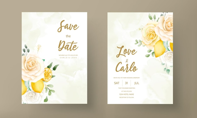 Tarjeta de invitación de boda con hermosas rosas de verano y marco de corona de limón