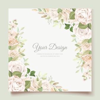 Tarjeta de invitación de boda con hermosas rosas