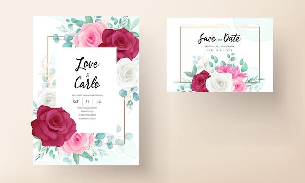 Tarjeta de invitación de boda con hermoso lirio floreciente y flor rosa