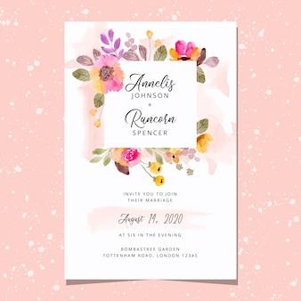 Tarjeta de invitación de boda con hermoso marco floral acuarela