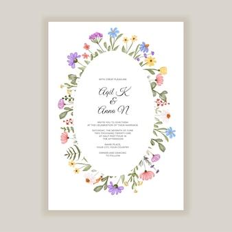Tarjeta de invitación de boda con hierbas y flores silvestres