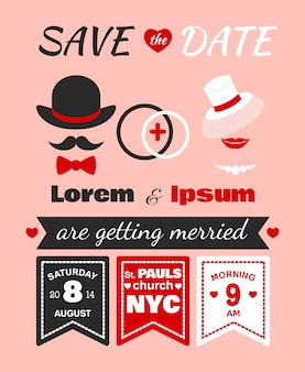 Tarjeta de invitación de boda hipster