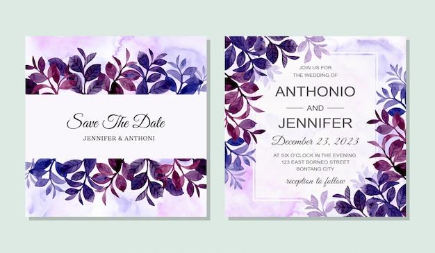 Tarjeta de invitación de boda con hojas de acuarela azul violeta