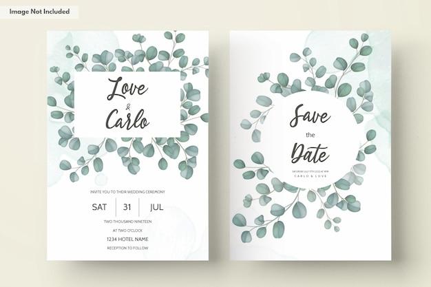 Tarjeta de invitación de boda con hojas de eucalipto verde