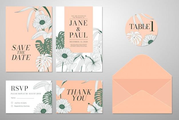 Tarjeta de invitación de boda con hojas y fondo floral