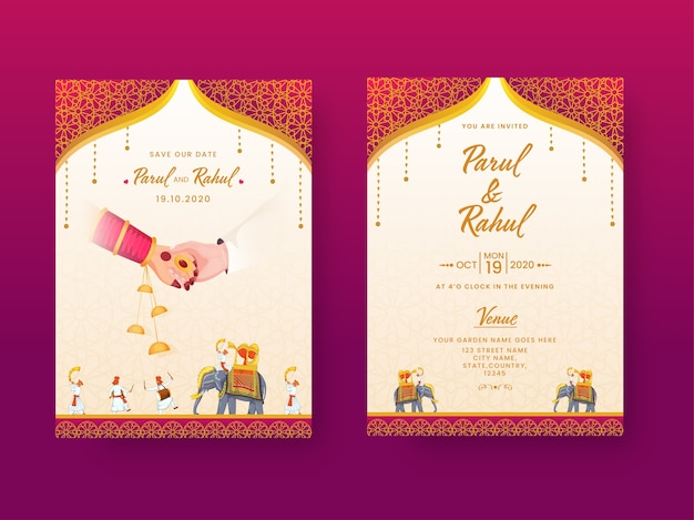 Tarjeta de invitación de boda india, diseño de plantilla con detalles del lugar en la vista frontal y posterior.