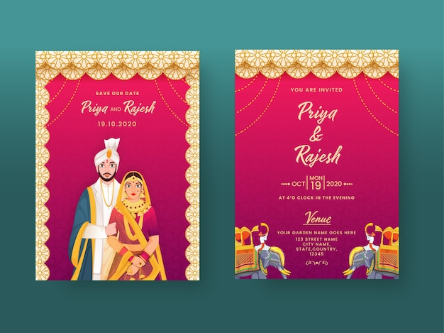 Tarjeta de invitación de boda india en patrón mandala con detalles de carácter y lugar de pareja.