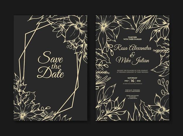 Tarjeta de invitación de boda con lujo floral de contorno de boceto dibujado a mano